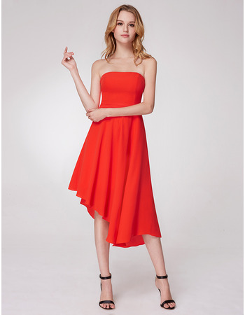 Simple Strapless High Low Asymmetrical Hem Tea Length Chiffon Evening Party Dresses