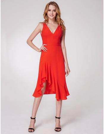 Sexy Classy V-Neck High Low Asymmetrical Hem Chiffon Evening Party Dresses