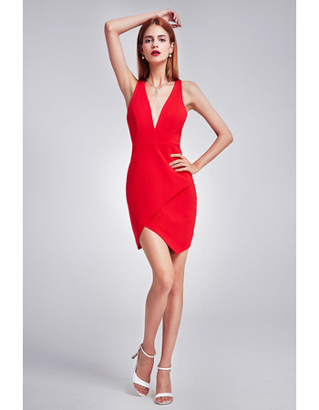 Sexy Sheath Plunging V-Neck Mini Satin Evening Party Dresses
