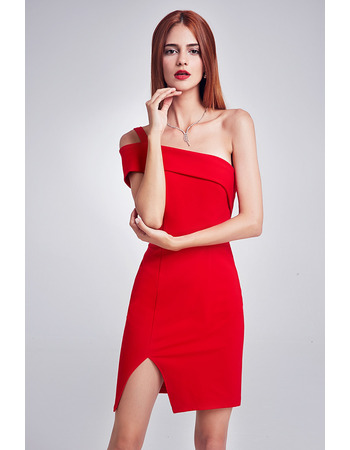 Simple Inexpensive Sheath One Shoulder Mini Party Dresses