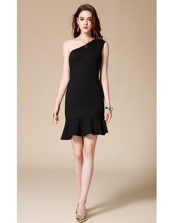 Sexy One Shoulder Mini/ Short Satin Black Homecoming Dresses