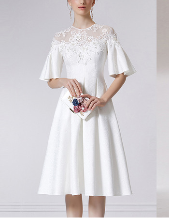 Discount Knee Length Embroidery Homecoming Dresses with Short Sleeves