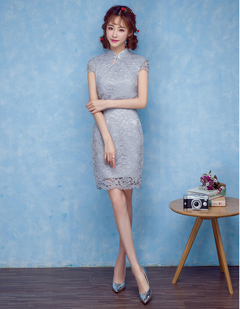 Modern Column Chinese Collar Mini Lace Cocktail Dresses with Short Sleeves