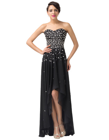 Gorgeous Crystal Embellished High-Low Chiffon Black Evening Party Dresses
