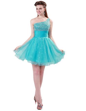 Pretty A-Line One Shoulder Mini/ Short Homecoming/ Graduation Dresses for Juniors