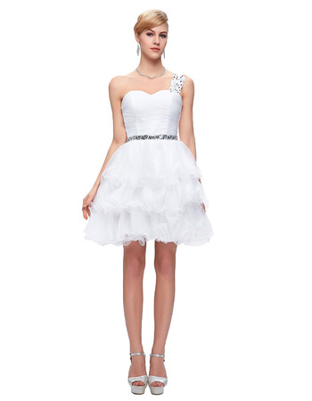 Beautiful One Shoulder Mini/ Short White Homecoming Dresses for Juniors