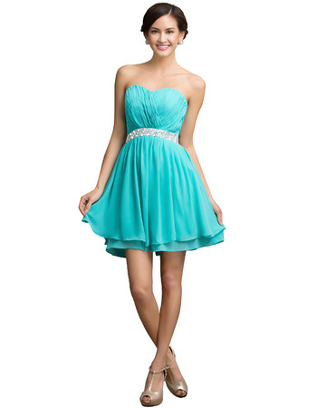 Perfect Sweetheart Short Chiffon Homecoming Dresses with Beaded Crystal Waist