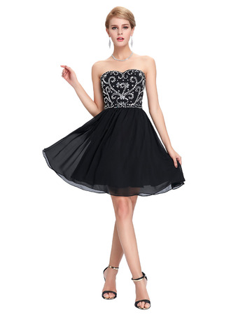 Lovely Sweetheart Mini/ Short Chiffon Black Homecoming/ Party Dresses for Juniors