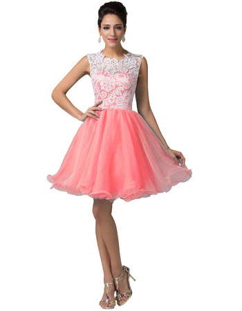 Discount Short Lace Organza Ball Gown Homecoming/ Birthday Party Dresses