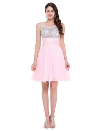 Dreamy Rhinestone Bodice Short Pink Chiffon Homecoming/ Graduation/ Party Dresses for Girls