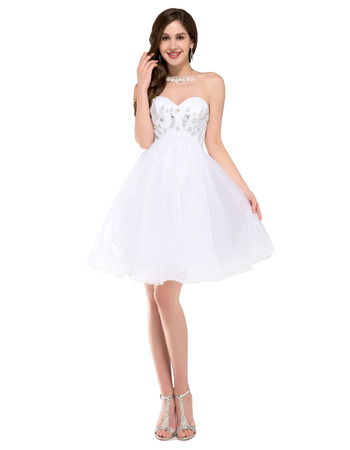 Classy A-Line Beaded Bodice Short White Tulle Homecoming/ Graduation Dresses for Girls