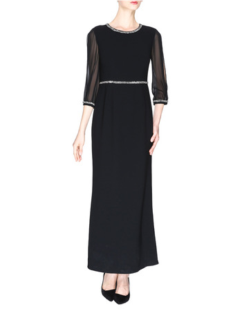 Modest Tea Length Chiffon Black Mother Dresses with 3/4 Illusion Tulle Sleeves and Beaded Detail