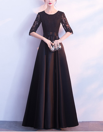Discount Stunning Full Length Pleated Lace Satin Mother Dresses with Half Illusion Sleeves