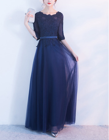 Inexpensive Discount Floor Length Lace Appliques Satin Tulle Mother Dresses with Half Sleeves