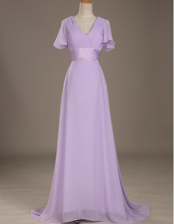 Affordable Flowing V-Neck Full Length Ruched Bodice Chiffon Mother Dress with Short Flutter Sleeves