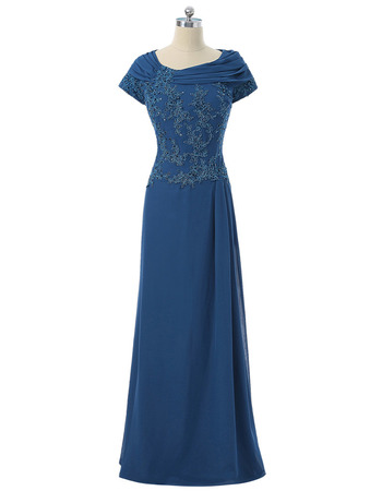 Elegant Round Neck Full Length Applique Beaded Chiffon Mother Dress with Short Cap Sleeves