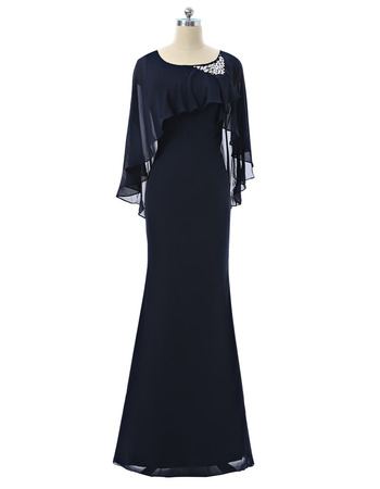 Elegant Stunning Sheath Full Length Chiffon Mother Dresses with Trim Capelet and Beading