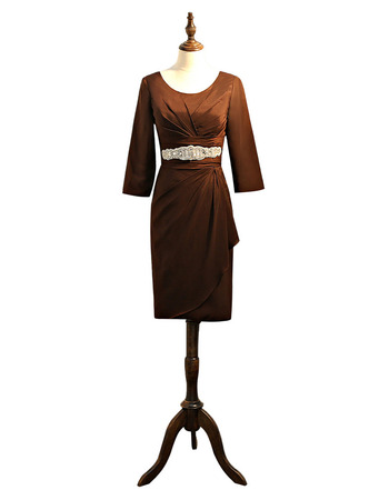 Elegant Knee Length Beaded Empire Waist Satin Mother Dresses with 3/4 Long Sleeves and Asymmetrical Pleated