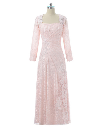 Elegant Square Neck Full Length Asymmetrical Pleated Lace Mother Dresses with Long Sleeves