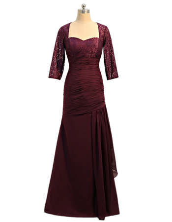 Stunning Modest Floor Length Lace Chiffon Mother Dresses with 3/4 Long Lace Sleeves and Asymmetrical Pleated