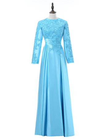Vintage Beaded Appliques Bateau Neck Full Length Satin Mother Dresses with Long Sleeves