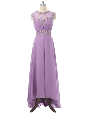 Stunning Sexy Illusion Neckline Sleeveless High-Low Long Chiffon Mother of the Bride Dresses with Lace Beaded