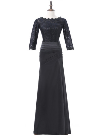 Discount Modest Long Lace Satin Black Mother Dresses with 3/4 Long Sleeves and Ruching