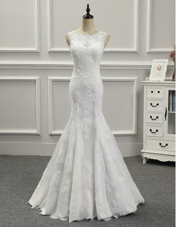 Ultra-feminine Trumpet Long Lace Satin Wedding Dresses with Detachable Trains
