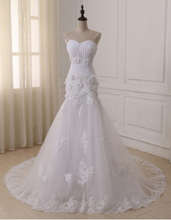 Romantic and Sophisticated Floral Applique Wedding Dresses with Trumpet Tulle Skirt