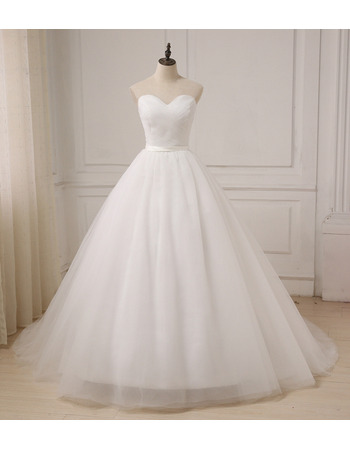Discount A-Line Sweetheart Floor Length Tulle Wedding Dresses with Ruched Bodice