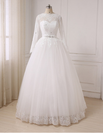 Elegant Feminine Illusion Sweetheart Neckline Ball Gown Full Length Lace Tulle Wedding Dresses with Long Sleeves