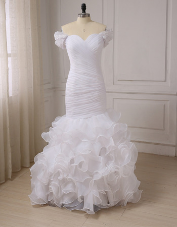 Modern Pleated Bodice Organza Wedding Dresses with Breathtaking Layered Skirt