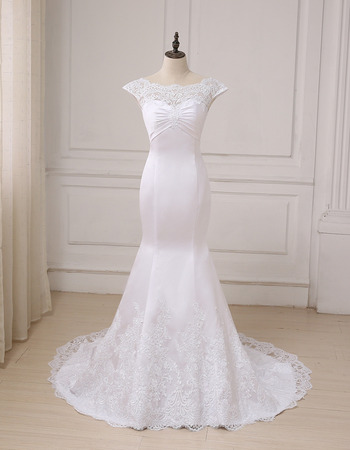 Sexy Trumpet Cap Sleeves Full Length Lace Appliques Satin Wedding Dresses with Slight Cap Sleeves fot Spring