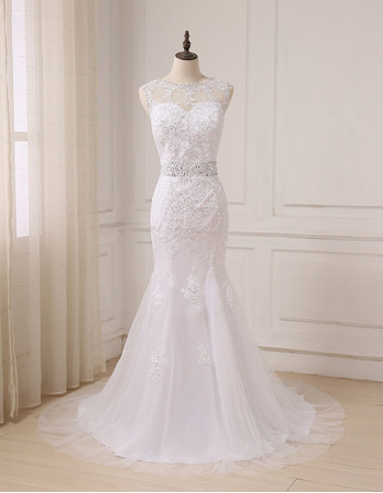 Discount Sequined Appliques Illusion Neckline Tulle Wedding Dress with Sexy V-back