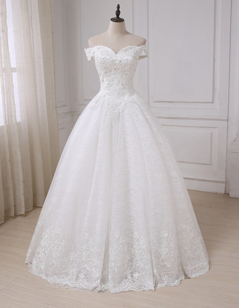 Classy Princess Sweetheart Beaded Off-the-shoulder Full Length Lace Wedding Dresses with Crystal Detailing