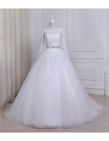 Ball Gown Illusion Neckline Organza Wedding Dresses with Long Lace Sleeves