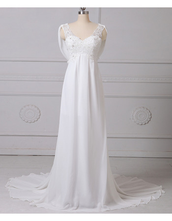 Glamour Empire Beaded V-Neck Sleeveless Long Length Ruching Chiffon Tulle Wedding Dresses