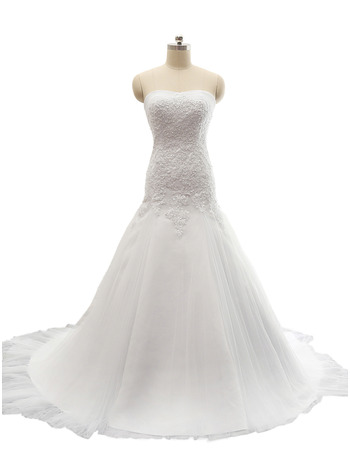 New Style A-Line Sweetheart Court Train Satin Wedding Dresses