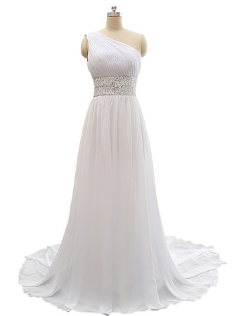 Custom One Shoulder Sweep Train Chiffon Lace-Up Wedding Dresses