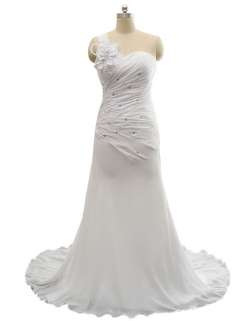 Graceful One Shoulder Pleated Chiffon Wedding Dresses with Crystal Detailing
