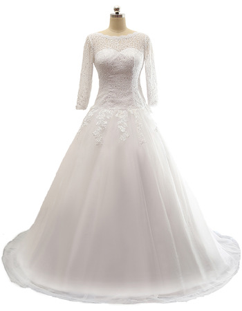 A-Line Tull Over Satin Wedding Dresses with 3/4 Length Sleeves
