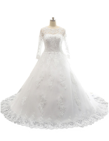 Custom A-Line Court Train Satin Tulle Wedding Dress with Long Sleeves