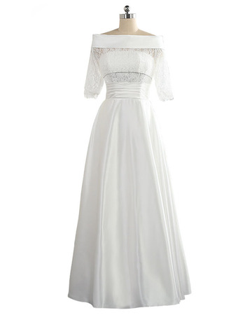 Elegant Off-the-shoulder Satin Wedding Dresses with Half Lace Sleeves