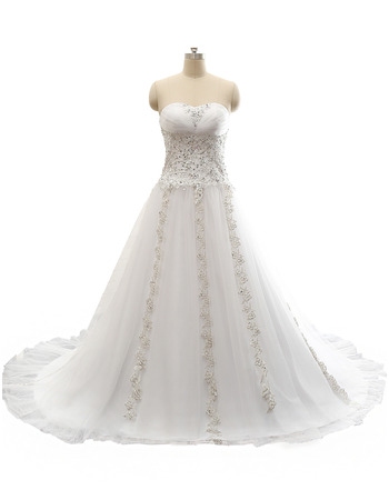 Luxury Beaded Appliques A-Line Sweetheart Sweep Train Tulle Wedding Dresses with Pleated Bust