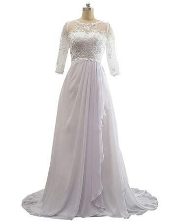 Discount Beaded Appliques Sweep Train White Chiffon Beach Wedding Dresses with 3/4 Long Sleeves