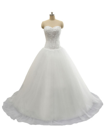 Discount Beaded Appliques A-Line Sweetheart Court Train Lace-Up Wedding Dresses with Tulle Skirt
