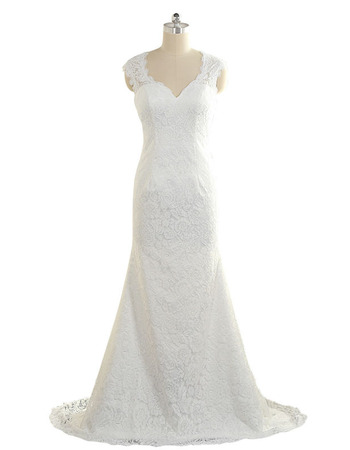 Simple Sheath Sweetheart Full Length Lace Wedding Dresses with Open Back