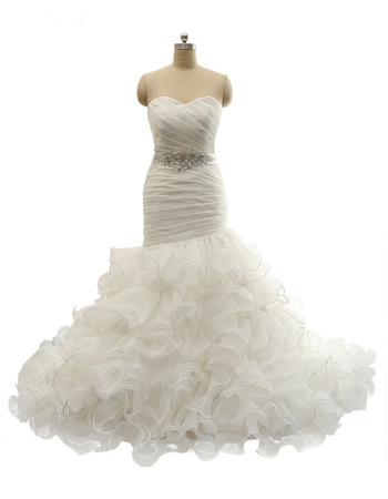 Stunning Sweetheart Ruched Bodice Organza Wedding Dresses with Breathtaking Ruffled Layered Skirt