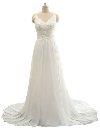 Ethereal V-Neck Long Train Chiffon Beach Wedding Dresses with Ruched Bodice