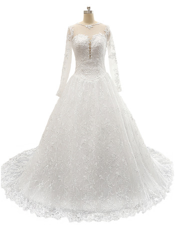 Modern Classy A-Line Illusion Neckline Court Train Lace Wedding Dresses with Long Sleeves